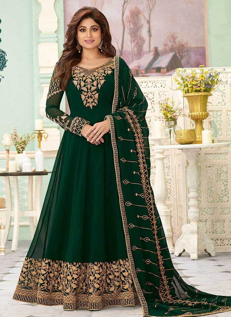 Bottle Green Heavy Embroidered Floor touch Anarkali