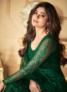 Bottle Green Heavy Embroidered Kalidar Gown Style Anarkali