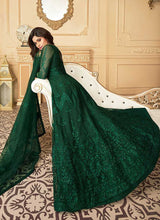 Load image into Gallery viewer, Bottle Green Heavy Embroidered Kalidar Gown Style Anarkali