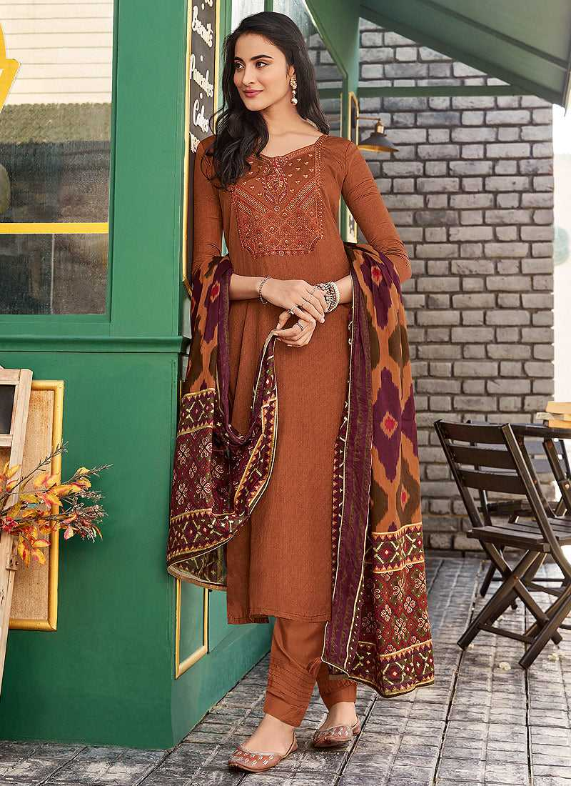 Brown Embroidered Straight Pant Style Suit