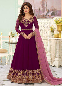Burgundy Color Heavy Embroidered Floor touch Anarkali