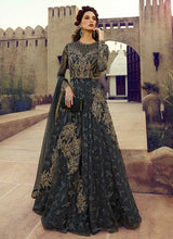 Load image into Gallery viewer, Charcol Grey Heavy Embroidered Gown Style Anarkali Suit - Indian Clothing | FashionandStylish