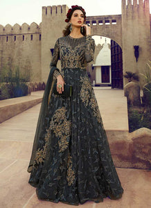 Charcol Grey Heavy Embroidered Gown Style Anarkali Suit - Indian Clothing | FashionandStylish