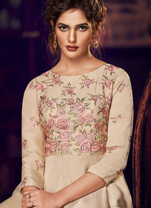 Chikoo Floral Embroidered Anarkali Style Gown - Indan Clothing | FashionandStylish 2