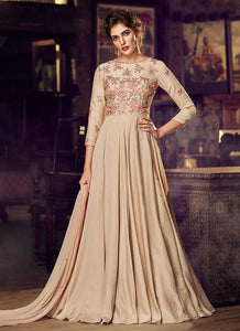 Chikoo Floral Embroidered Anarkali Style Gown - Indan Clothing | FashionandStylish