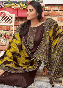 Coffee Embroidered Straight Pant Style Suit - Indian Clothing | FashionandStylish 2