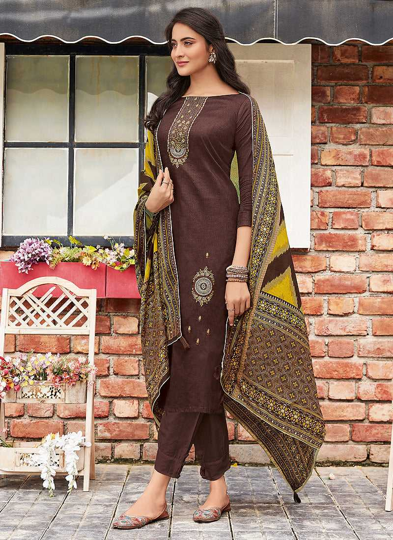Coffee Embroidered Straight Pant Style Suit - Indian Clothing | FashionandStylish