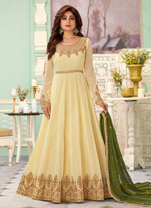 Cream Color Heavy Embroidered Floor touch Anarkali - Indian Clothing