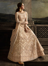 Load image into Gallery viewer, Cream Floral Embroidered Heavy Anarkali Suit
