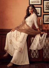 Load image into Gallery viewer, Cream Heavy Embroidered Sharara Style Suit