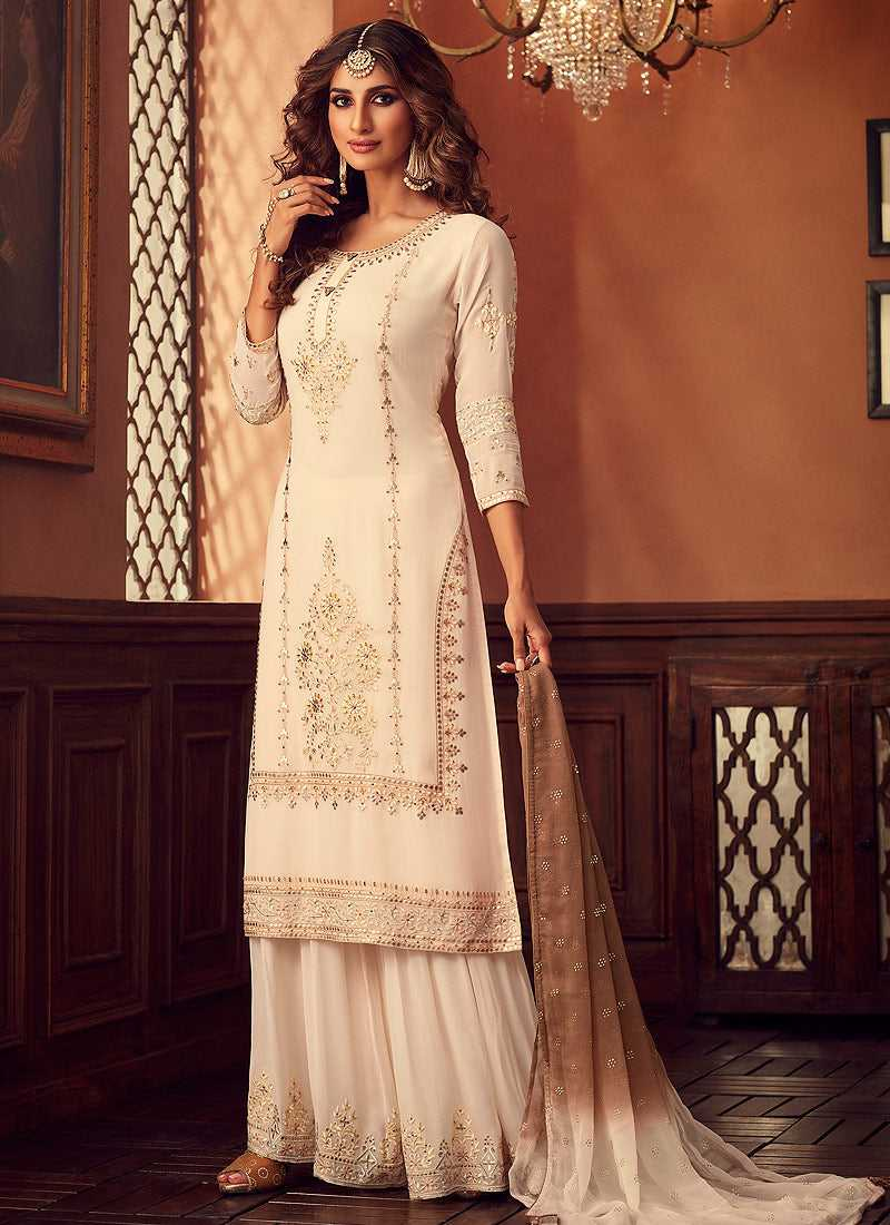 Cream Heavy Embroidered Sharara Style Suit
