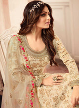 Load image into Gallery viewer, Cream and Gold Embroidered Sharara Style Suit