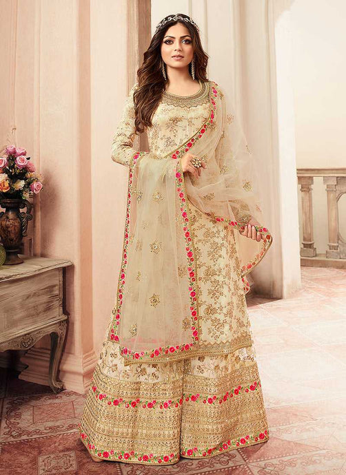 Cream and Gold Embroidered Sharara Style Suit - Indian Clothing