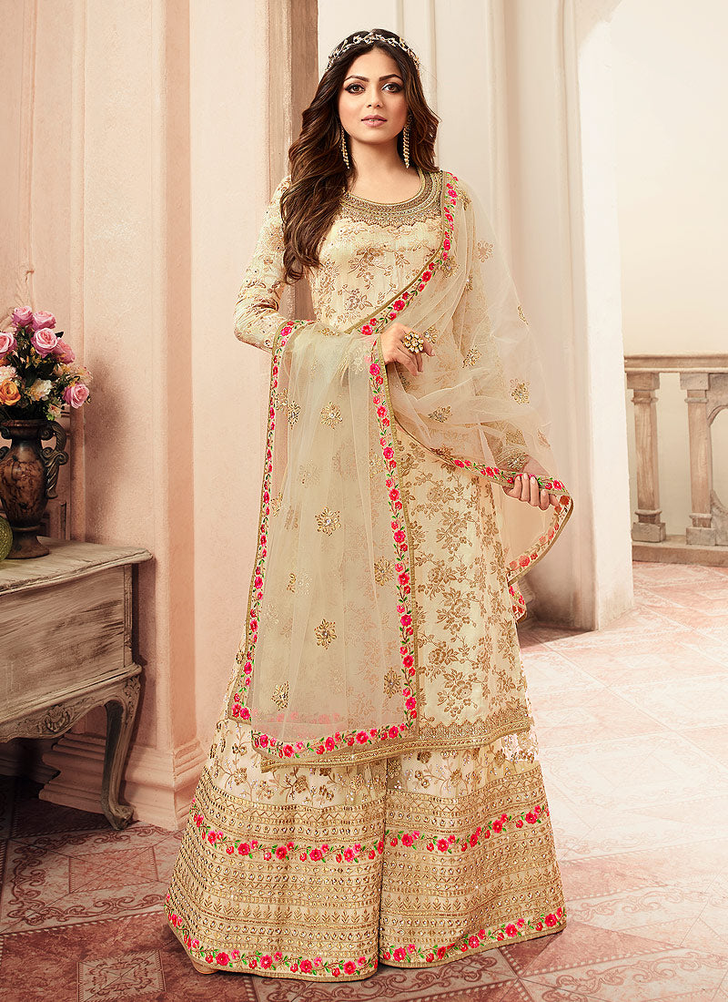 Cream and Gold Embroidered Sharara Style Suit