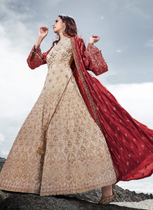 Cream and Red Heavy Embroidered Jacket Style Anarkali Suit