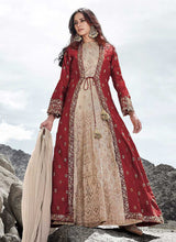 Load image into Gallery viewer, Cream and Red Heavy Embroidered Jacket Style Anarkali Suit