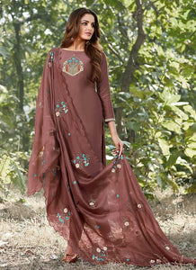 Dark Brown Embroidered Straight Pant Style Suit