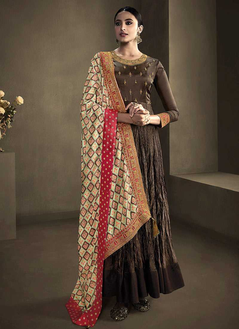 Dark Brown Kalidar Embroidered Anarkali Style Suit