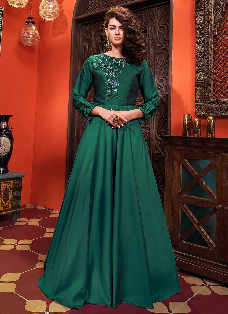 Dark Green Embroidered Art Silk Gown - Indian Clothing