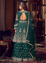 Load image into Gallery viewer, Dark Green Heavy Embroidered Sharara Style Suit