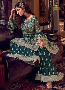 Dark Green Heavy Embroidered Sharara Style Suit