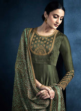 Load image into Gallery viewer, Dark Green Kalidar Embroidered Anarkali Style Suit - Indian Clothing 2