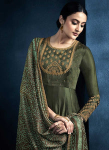 Dark Green Kalidar Embroidered Anarkali Style Suit - Indian Clothing 2