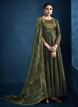 Load image into Gallery viewer, Dark Green Kalidar Embroidered Anarkali Style Suit - Indian Clothing