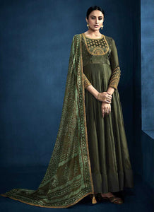 Dark Green Kalidar Embroidered Anarkali Style Suit - Indian Clothing