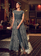 Load image into Gallery viewer, Dark Grey Heavy Embroidered Lehenga/ Pant Style Anarkali