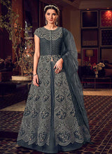Load image into Gallery viewer, Dark Grey Heavy Embroidered Lehenga Pant Style Anarkali - Indian Clothing