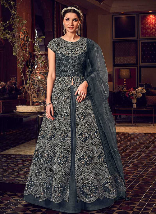 Dark Grey Heavy Embroidered Lehenga Pant Style Anarkali - Indian Clothing