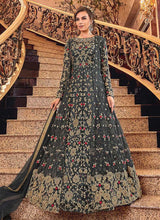 Load image into Gallery viewer, Dark Grey and Gold Heavy Embroidered Anarkali
