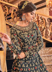 Dark Grey and Gold Heavy Embroidered Anarkali