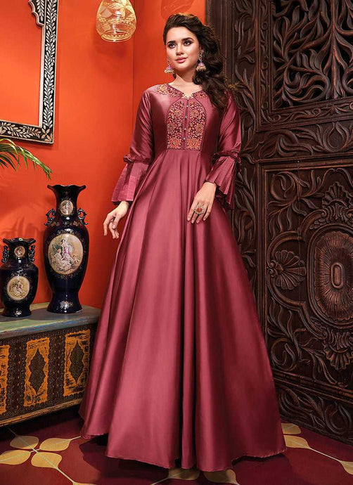 Dark Pink Embroidered Art Silk Gown - Indian Clothing