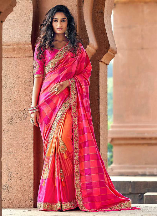 Dark Pink and Peach Embroidered Bollywood Style Saree