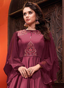 DarkPurpleEmbroideredArtSilkGown - Indian Clothing 2