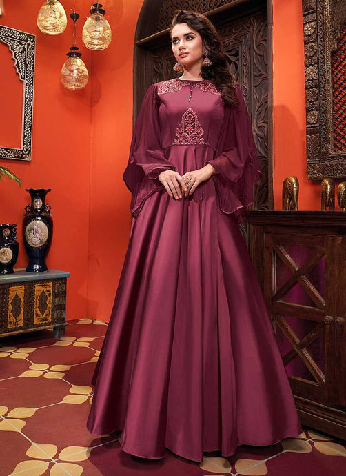 DarkPurpleEmbroideredArtSilkGown - Indian Clothing