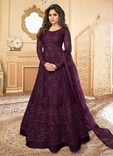 Load image into Gallery viewer, Dark Purple Heavy Embroidered Kalidar Gown Style Anarkali