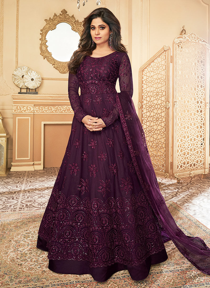 Dark Purple Heavy Embroidered Kalidar Gown Style Anarkali