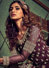 Load image into Gallery viewer, Dark Purple Heavy Embroidered Sharara Style Suit