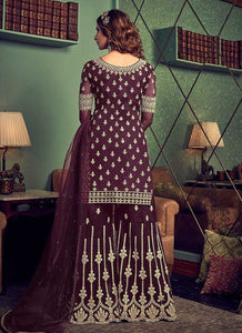 Dark Purple Heavy Embroidered Sharara Style Suit