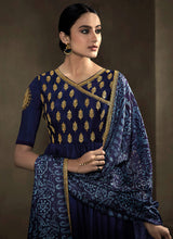 Load image into Gallery viewer, Deep Blue Kalidar Embroidered Anarkali Style Suit 2