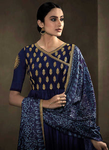 Deep Blue Kalidar Embroidered Anarkali Style Suit 2
