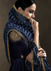 Deep Blue Kalidar Embroidered Anarkali Style Suit 3