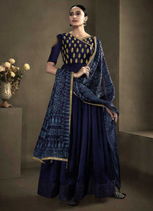 Deep Blue Kalidar Embroidered Anarkali Style Suit