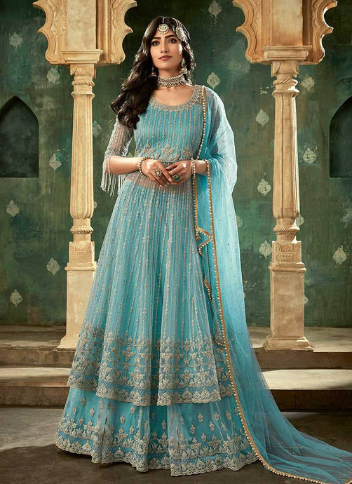 Deep Blue and Gold Embroidered Lehenga - Indian Clothing
