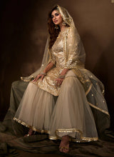 Load image into Gallery viewer, Dusky Beige Sequins Work Embroidered Gharara Style Suit