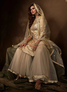 Dusky Beige Sequins Work Embroidered Gharara Style Suit
