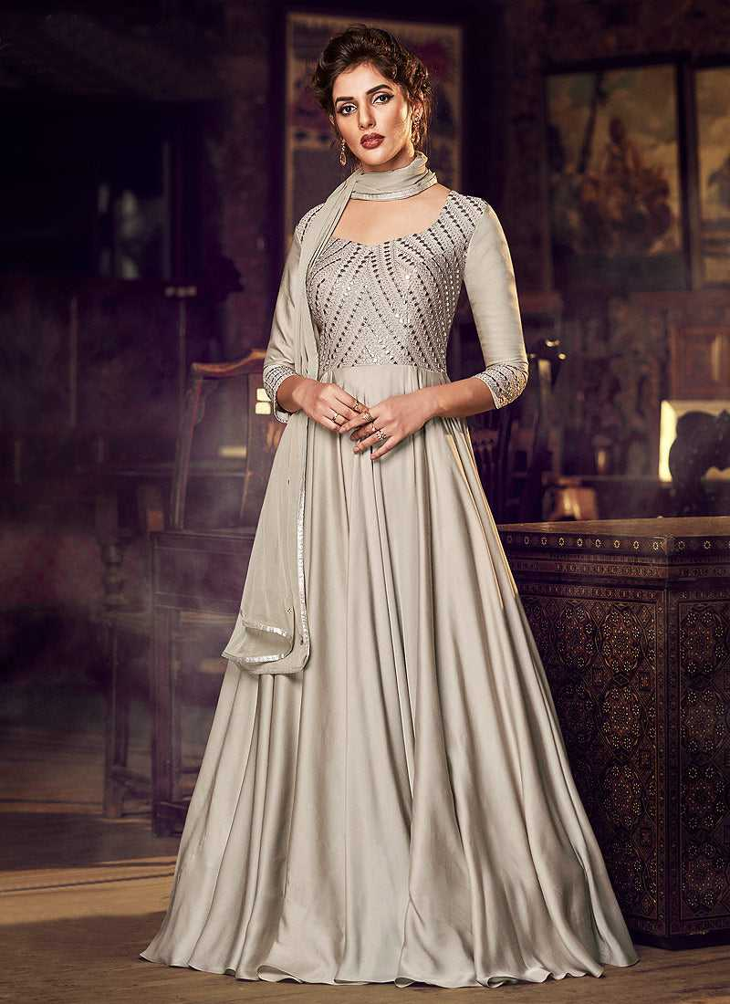 Dusty Cream Embroidered Anarkali Style Gown